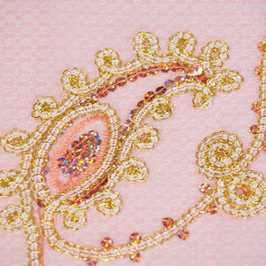 Sparkling Chainlink Gold and Blush Paisley Lace on Blush Tulle