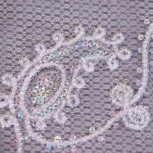 Chain Link Silver and White Paisley Lace on Black Tulle Fabric