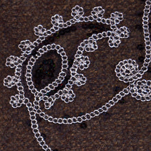 Chain Link Silver and Black Paisley Lace on Black Tulle Fabric