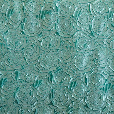 Aqua Blue Lasercut Flat Rossette Satin Fabric