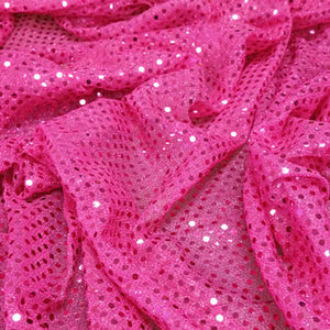 Fuchsia Confetti Dot Sequin Cheer Bow Costume Fabric by the Yard