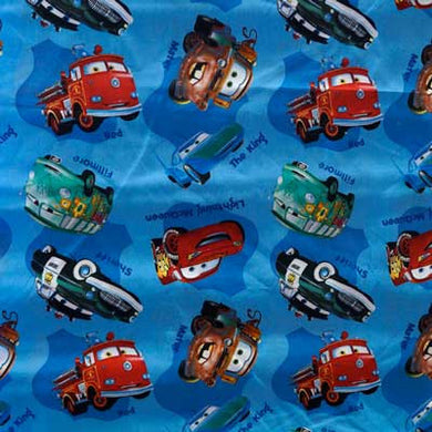 Disney's Cars Cast on Royal Blue 100% Cotton