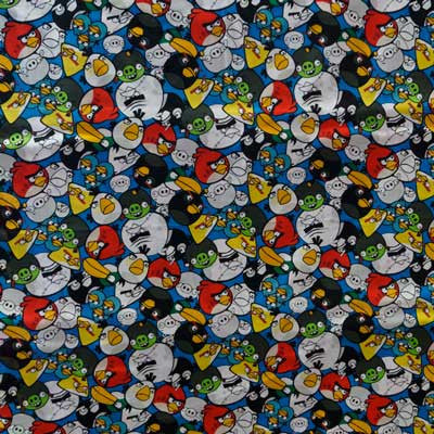 Angry Birds on Royal Blue 100% Cotton