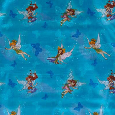 Disney's Tinkerbell & Friends on Sky Blue 100% Cotton