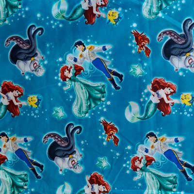 Disney's Little Mermaid & Cast on Royal Blue 100% Cotton