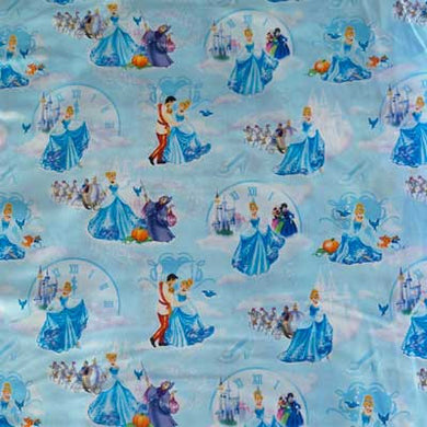 Disney's Cinderella w/ Clocks on Sky Blue 100% Cotton