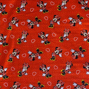 Disney's Minnie Mouse Red & White Polka Dots 100% Cotton