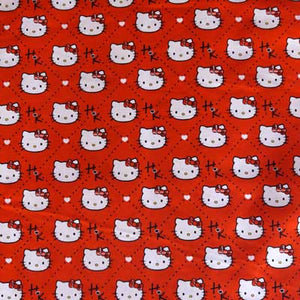 Hello Kitty w/ Hearts on Red 100% Cotton