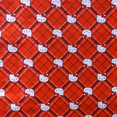 Hello Kitty on Red Plaid 100% Cotton