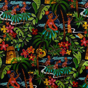 Hawaiian Hula Girls Luau - Alexander Henry Collection 100% Cotton