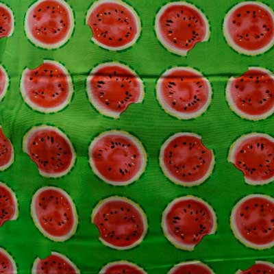 Watermelon Pieces on Lime Green 100% Cotton