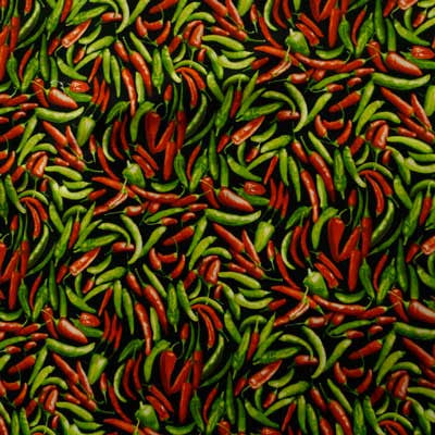 Green & Red Chilli Peppers on Black 100% Cotton
