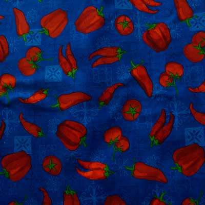 Red Chillis, Tomatoes & Bell Peppers on Royal Blue 100% Cotton