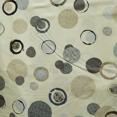 Gray Burlap Print Circles on Beige 100% Cotton