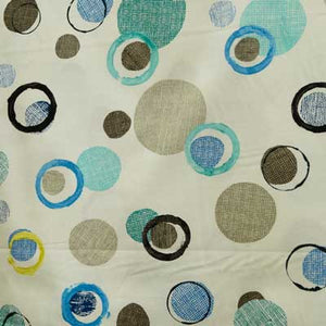 Blue Burlap Circles on Beige 100% Cotton