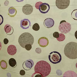 Red & Purple Burlap Circles on Beige 100% Cotton