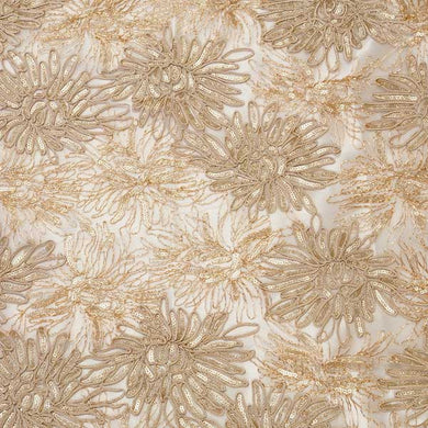 Champagne Trinity Sequined Floral Lace Fabric