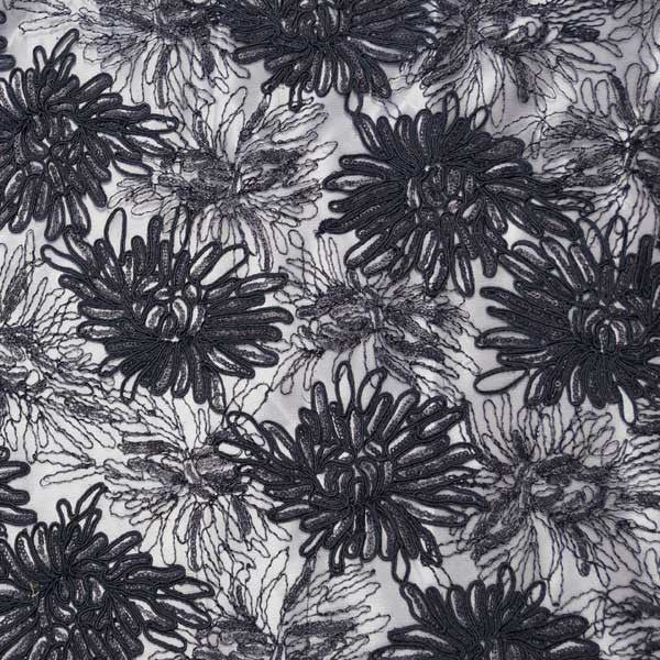 Black Trinity Sequined Floral Lace Fabric