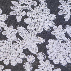 White Vivian Paisley Flower Lace