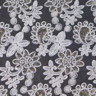 Silver on White Vivian Paisley Flower Lace