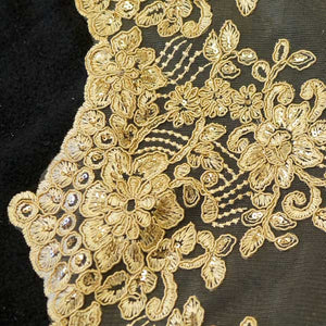 Gold Floral Scalloped Lace
