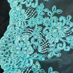 Turquoise Floral Scalloped Lace