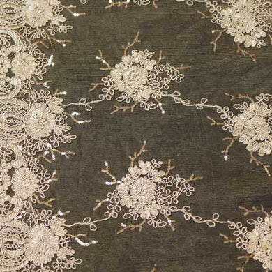 Champagne-color Bitmore Floral Scalloped Lace