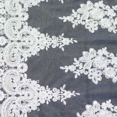 White Hollywood Floral Scalloped Lace