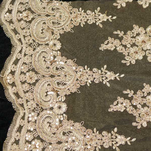 Champagne Hollywood Floral Scalloped Lace