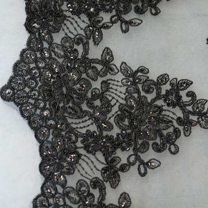 Black Floral Scalloped Lace