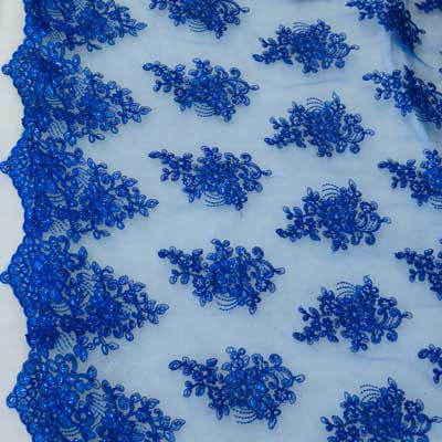 Royal Blue Floral Scalloped Lace