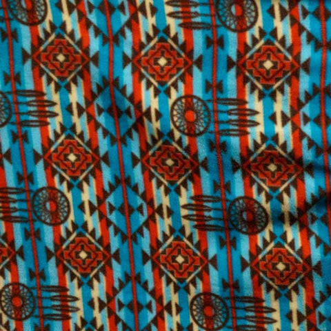 Blue, Red, & Brown Dreamcatcher Southwest Fleece Fabric