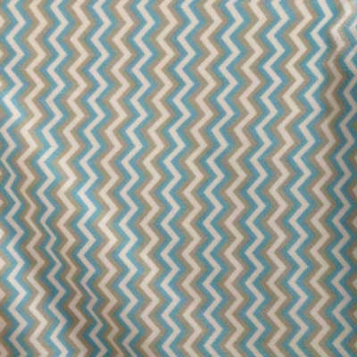 Light Blue & Grey Zig Zag Fleece Fabric