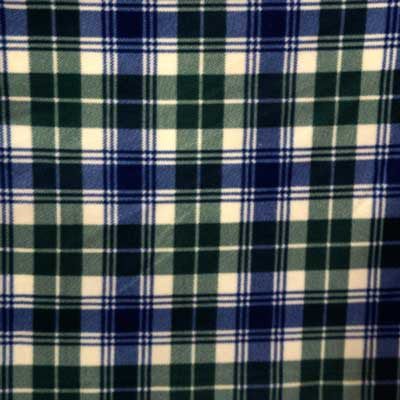 Blue, Green & Cream Plaid Fleece Fabric