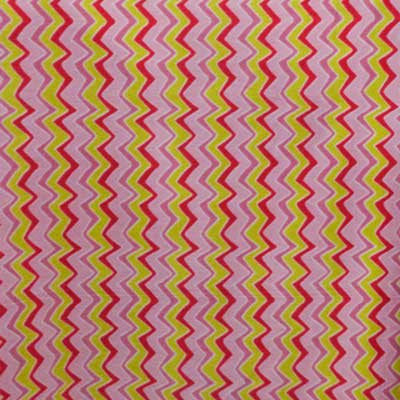 Pink, Red & Yellow Zig Zag Fleece Fabric