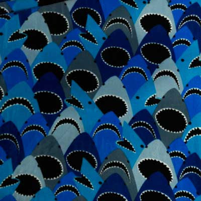 Blue & Black Shark Collage Fleece Fabric
