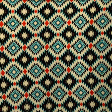Blue, Cream & Red Southwest Diamond Fleece Fabric