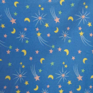 Crescent Moon & Stars Light Blue Fleece Fabric