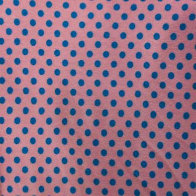 Blue Polka Dots Pink Fleece Fabric