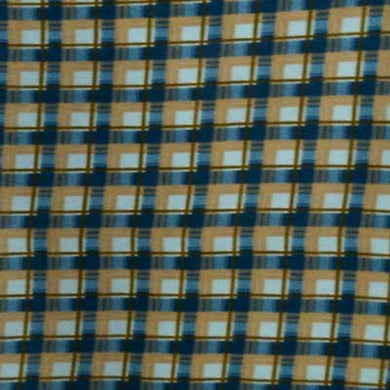 Blue, Tan & White Plaid Fleece Fabric