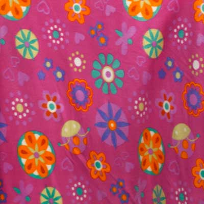 Flowers on Fuchsia Pink Fleece Fabric