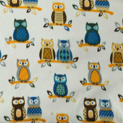 Blue & Tan Owl Fleece Fabric