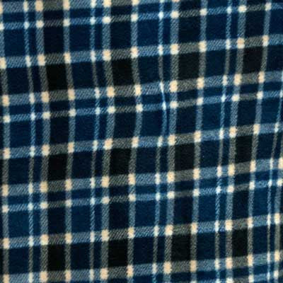 Blue & Black Square Plaid Fleece Fabric