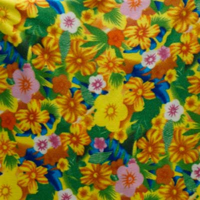 Yellow Flower Collage Multi-color Floral Fleece Fabric