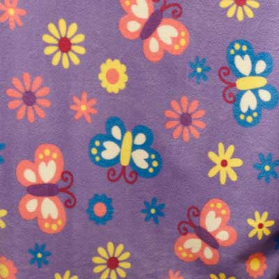 Butterfly & Flower Periwinkle Fleece Fabric