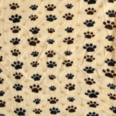 Big & Small Brown & Tan Paw Print Fleece Fabric