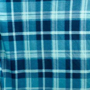 Light / Dark Blue Square Plaid Fleece Fabric