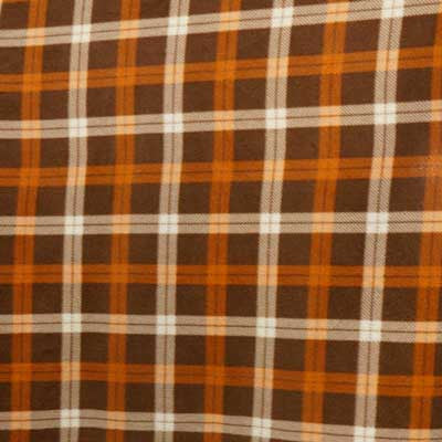 Brown, Orange & Cream Plaid Fleece Fabric