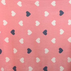 White & Grey Heart Pink Fleece Fabric