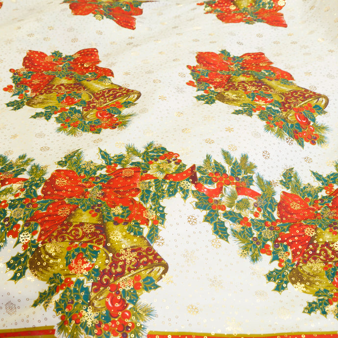 Christmas Bells with Holly Polyester Poplin Christmas Fabric